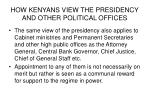 how kenyans view the presidency and other political offices