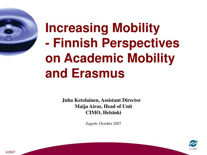 increasing mobility finnish perspectives on academic mobility and erasmus n.