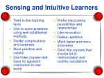 sensing and intuitive learners
