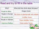 read and try to fill in the table