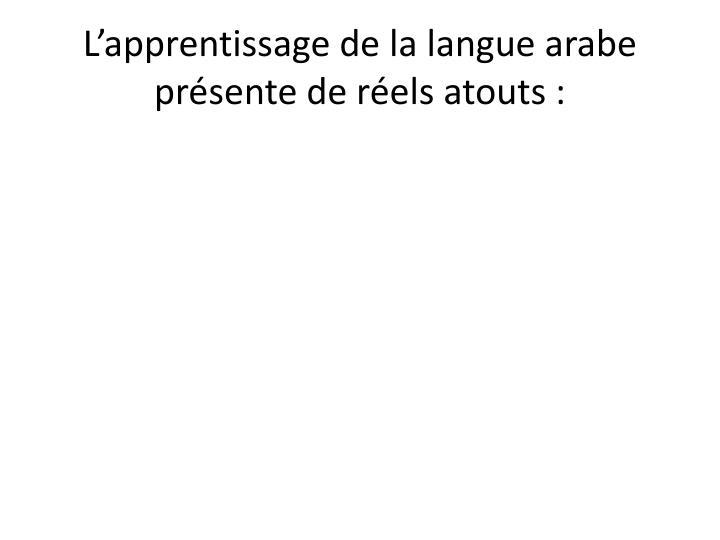 L apprentissage de la langue arabe pr sente de r els atouts