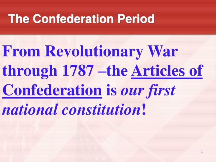 the confederation period n.