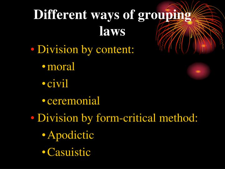 Different ways of grouping laws