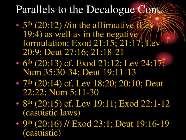 Parallels to the Decalogue Cont.