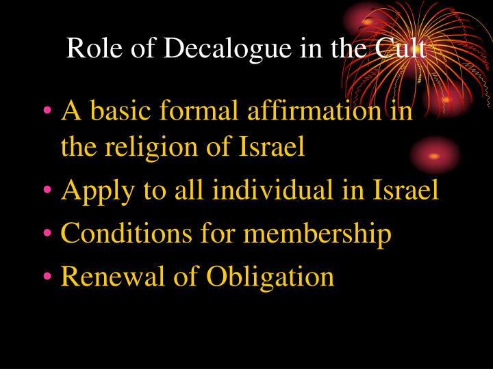 Role of Decalogue in the Cult
