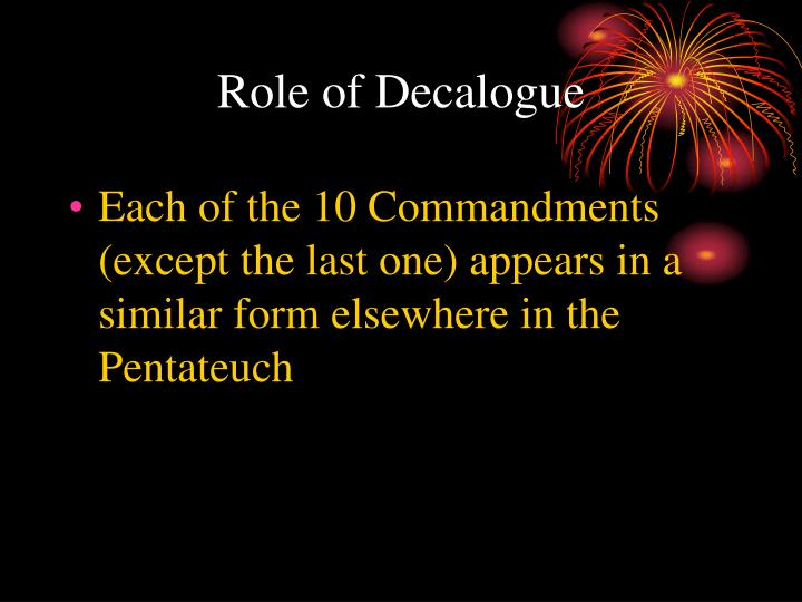 Role of Decalogue