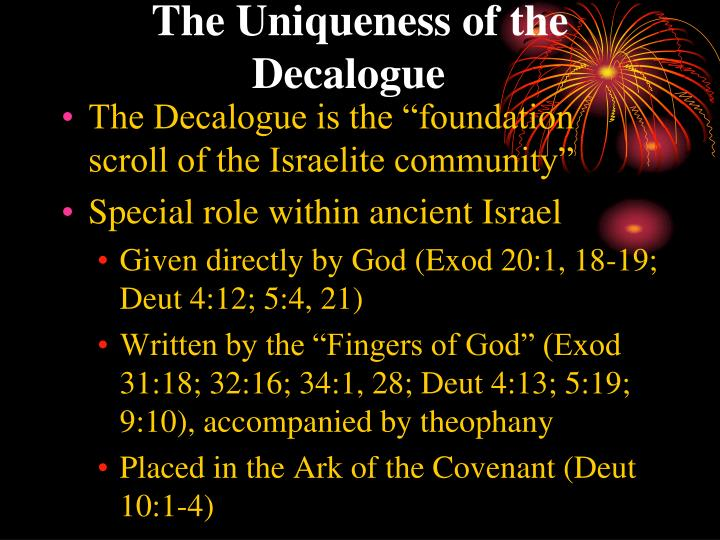 The Uniqueness of the Decalogue
