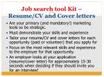 job search tool kit resume cv and cover letters
