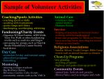 sample of volunteer activities