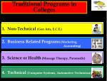 traditional programs in colleges