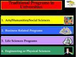 traditional programs in universities