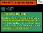 what the colleges are saying