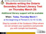 students writing the ontario secondary school literacy test on thursday march 29