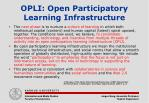 opli open participatory learning infrastructure