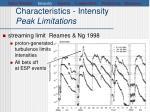 characteristics intensity peak limitations1