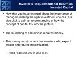 investor s requirements for return on invested capital
