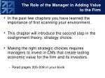 the role of the manager in adding value to the firm