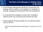 the role of the manager in adding value to the firm1