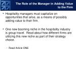the role of the manager in adding value to the firm2