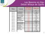 les besoins en eau d tail wilaya de djelfa