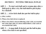 section 1 putting the ball in play