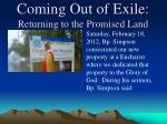 coming out of exile returning to the promised land4