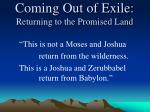 coming out of exile returning to the promised land5