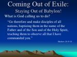 coming out of exile staying out of babylon3