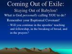 coming out of exile staying out of babylon5