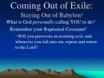 coming out of exile staying out of babylon6
