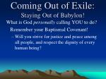 coming out of exile staying out of babylon8