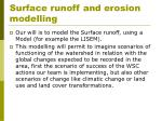 surface runoff and erosion modelling