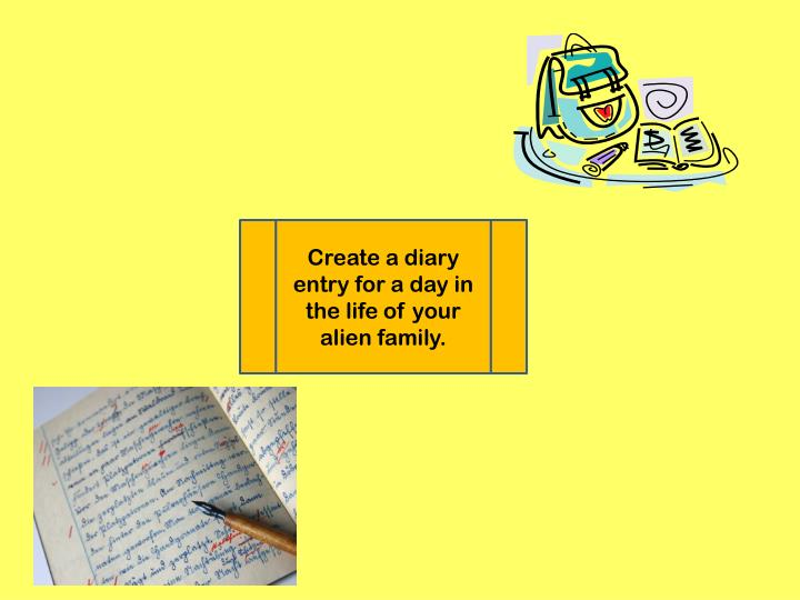 Create a diary entry for a day in the life of your alien family.