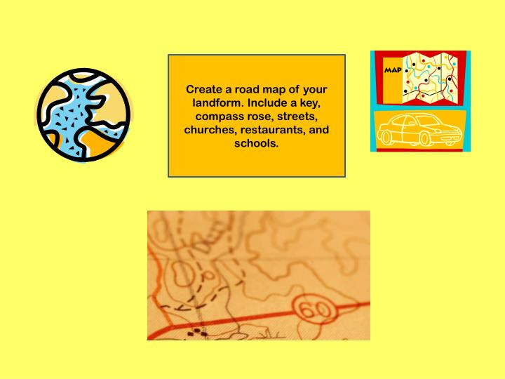 Create a road map of your landform. Include a key, compass rose, streets, churches, restaurants, and schools.