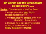 sir gawain and the green knight as epic poetry cont
