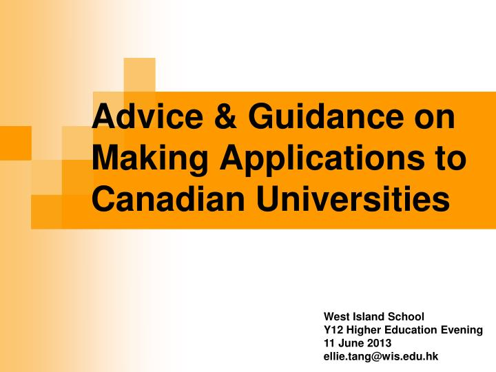 advice guidance on making applications to canadian universities n.
