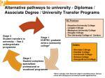 alternative pathways to university di plomas associate degree university transfer programs