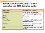application deadlines some examples and 2013 dates for guide