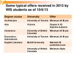 some typical offers received in 2013 by wis students as of 10 6 131