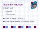 method of payment