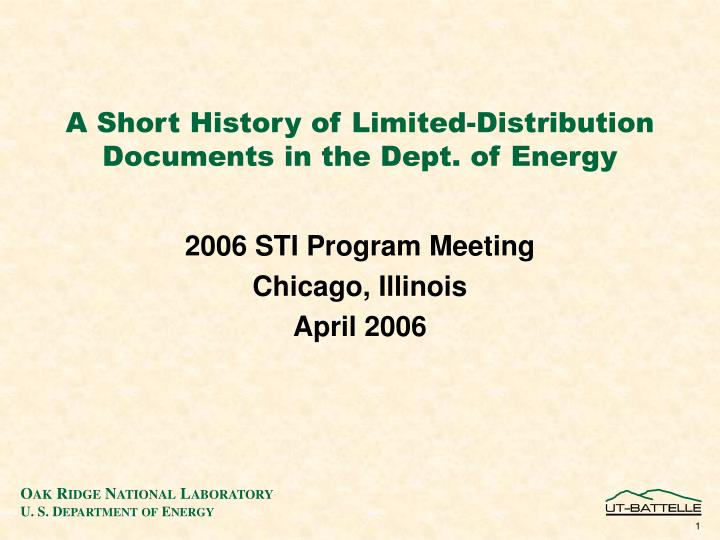 a short history of limited distribution documents in the dept of energy n.