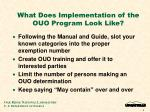 what does implementation of the ouo program look like