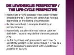 die lewensiklus perspektief the life cycle perspective1