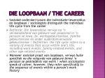 die loopbaan the career