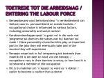 toetrede tot die arbeidsmag entering the labour force