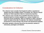 considerations for collection