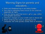 warning signs for parents and educators