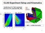 clas experiment setup and kinematics