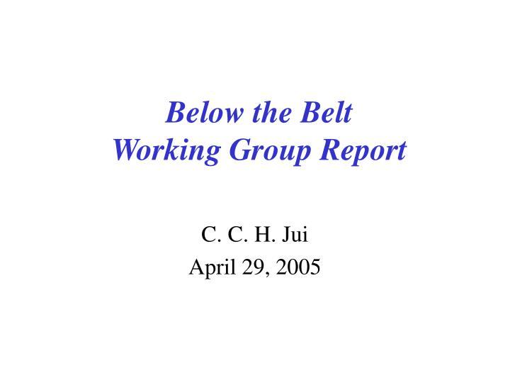 below the belt working group report n.