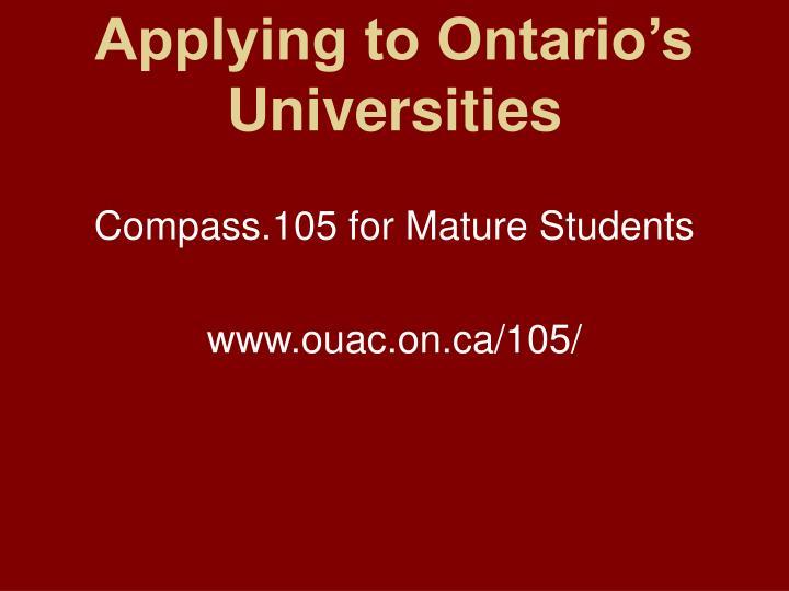 Applying to ontario s universities